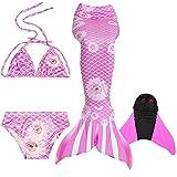 Meerjungfrauenflosse für Kinder mit Bikini, rosa Blumen