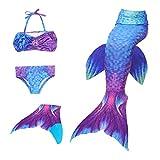 Le SSarae Meerjungfrauenflosse Kinder mit Bikini, blau
