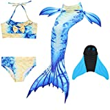 DECOOL Meerjungfrauenflosse Kinder mit Bikini, blau-beige