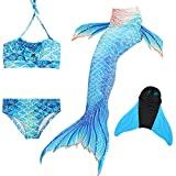 DECOOL Meerjungfrauenflosse für Kinder mit Bikini, blau-weiß
