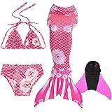 DECOOL Meerjungfrauenflosse Kinder mit Bikini, Pink Roses