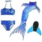 DECOOL Meerjungfrauenflosse Kinder mit Bikini, meeresblau