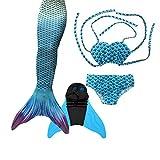 DECOOL Meerjungfrauenflosse Kinder mit Bikini, wasserblau