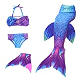 Le SSara Meerjungfrauenflosse Kinder mit Bikini, lila-blau
