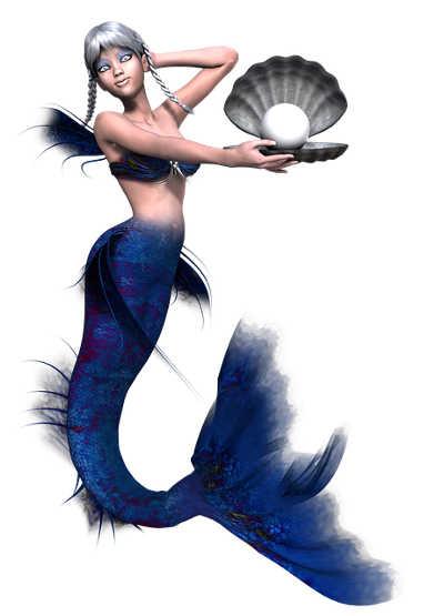 Meerjungfrau hält Muschel mit Perle